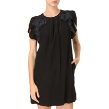 Black Ruffle Silk Dress