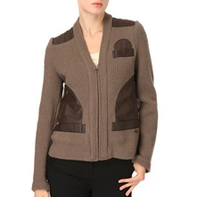 Khaki/Brown Wool/Leather Trim Jacket