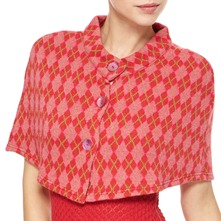 Red/Pink Argyle Capelet