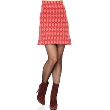 Red/Pink Argyle Cashemre/Angora Blend Skirt