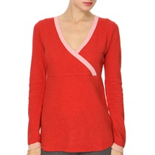 Red/Pink V-Neck Angora/Cashmere Blend Jumper