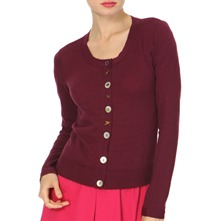 Purple Round Neck Cotton Cardigan