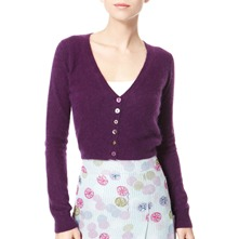 Blackcurrant Cropped Angora Blend Cardigan