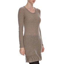 Mushroom Textured Wool Blend Tunic