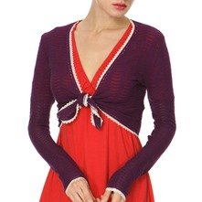 Purple Short Fashion Knit Cardigan