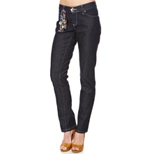 Denim Flower Buttoned Jeans 32