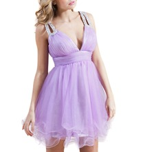 Lilac Pommie Tulle Net Prom Dress