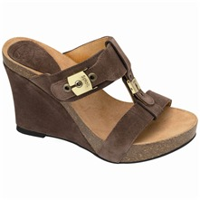 Brown Esart Suede Wedge Mules 7cm Heel