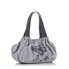 Grey Velour Butterfly Bag