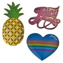 Set of Three Multicolour Heart/Pineapple Juicy Pins