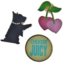 Set of Three Multicolour Dog/Juicy/Cherry Pins