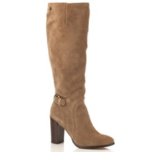 Tan Lucy Suede Long Leather Boots 9cm