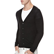 Black Wool Blend Cardigan