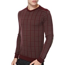 Burgundy Zakar Elbow Patch Jumper