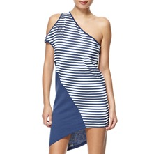 Blue Stripe Asymmetric Dress