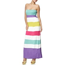 White/Multi Rainbow Stripe Maxi Dress