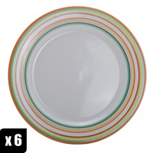 Lot de 6 assiettes plates rondes  26 cm multicolores