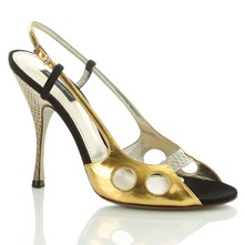 Gold/Black/Snake Slingback Sandals12cm Heel