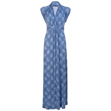 Light Blue Cascade Jersey Maxi Dress