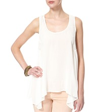 White Dipped Hem Mesh Insert Top