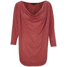 Red Penny Paisley Cowl Neck Top