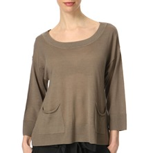 Taupe Cut Away Draped Back Top