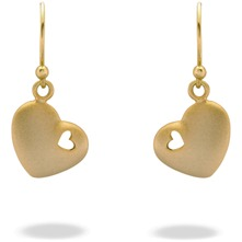 Gold Heart Charm Hook Earrings