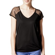 Black Sheer Polkadot Sleeve T-Shirt