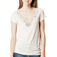 Cream Bead Embroidery T-Shirt