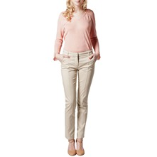 Beige Cotton Sateen Tailored Trousers