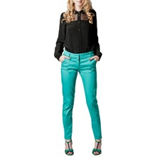 Green Cotton Sateen Tailored Trousers