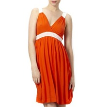 Orange Bi-Colour Silk Dress