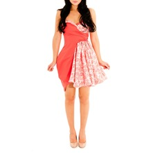 Coral Flared Bustier Dress