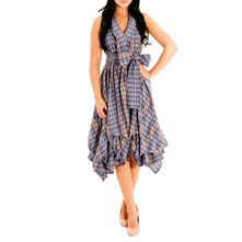 Blue Check Handkerchief Hem Dress