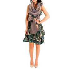 Green Cowl Midi Hitch Dress