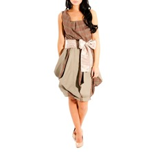 Brown Triangle Skirt Bustier Dress