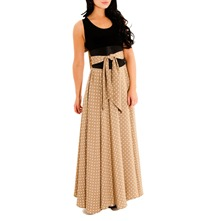Taupe Polka Dot Flared Maxi Dress