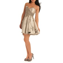 Champagne Flared Bustier Dress