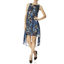 Blue Floral Dipped Hem Dress