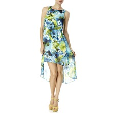 Blue/Green Floral Dipped Hem Dress