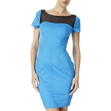 Blue Mesh Panel Fitted Dress