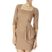 Beige/Pink Polka Dot Fan Waist Dress