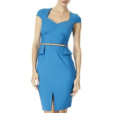 Blue Peplum Waist Belted Dress