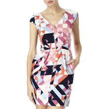 Pink/Multi Geometric Cut-Out Dress
