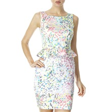 White/Multi Geometric Peplum Lace Dress
