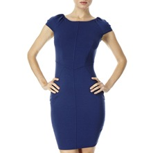 Navy Stitched Front Jersey Dress