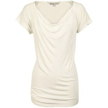 White Natalie Cowl Neck T-Shirt