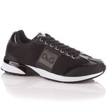 Men footwear: Black Mesh/Patent Leather Trainers