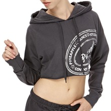 Charcoal Covent Crop Hooded Jumper