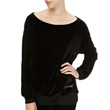 Black Velour Wide Neck Jumper
